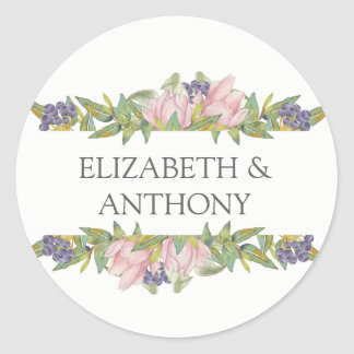 Sweet Magnolia Wedding Classic Round Sticker