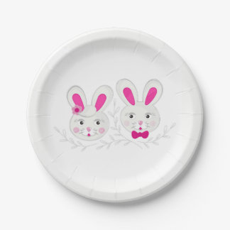 Sweet male female rabbits 7 inch paper plate