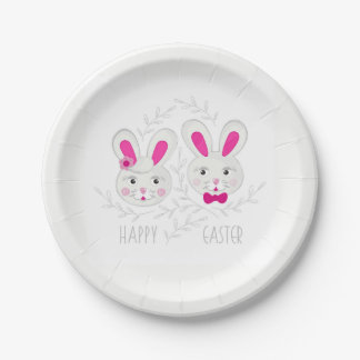 Sweet male female rabbits wish you happy Easter 7 Inch Paper Plate