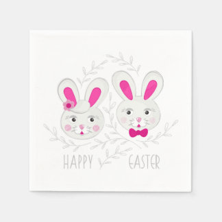 Sweet male female rabbits wish you happy Easter Disposable Napkins