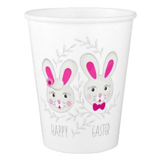 Sweet male female rabbits wish you happy Easter Paper Cup