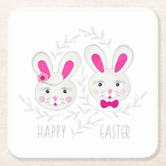 Sweet male female rabbits wish you happy Easter Square Paper Coaster