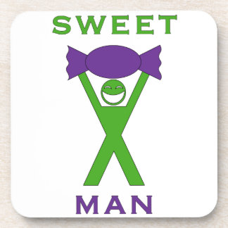 Sweet Man Funny Green and Purple Slogan Design Coaster