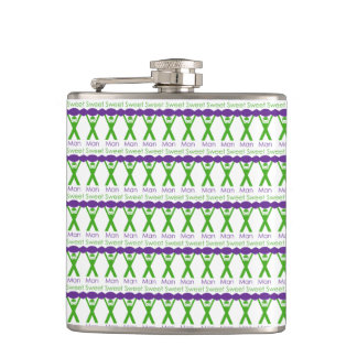 Sweet Man Funny Green and Purple Slogan Design Hip Flask