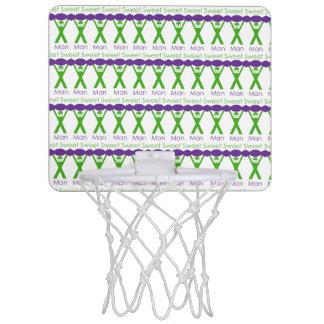 Sweet Man Funny Green and Purple Slogan Design Mini Basketball Hoop