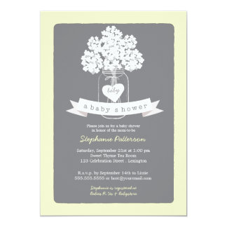 Sweet Mason Jar Neutral Baby Shower Invitation
