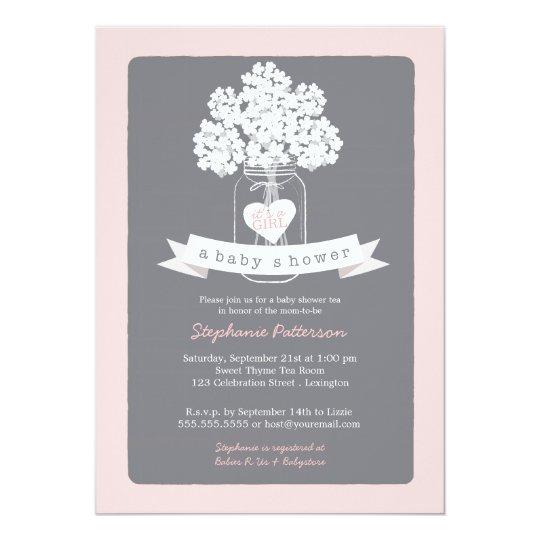 Sweet Mason Jar Pink | Grey Baby Shower