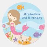 Sweet Mermaid Birthday Stickers Stickers