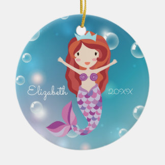 Sweet Mermaid Personalized Christmas Ornament