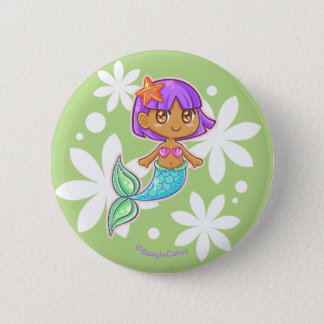 Sweet Mermaid Pinback Button (Purple)