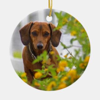 Sweet Mini Red Dachshund Christmas Ornament