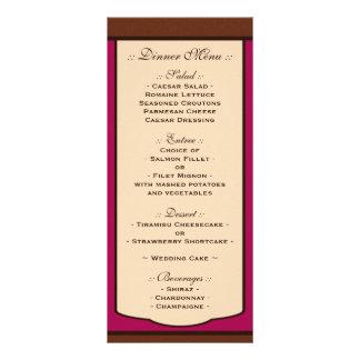 Sweet Mocha & Fuchsia Wedding Reception Menus Custom Rack Card