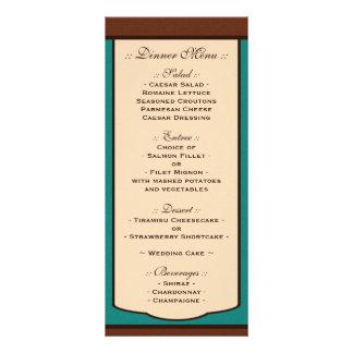 Sweet Mocha & Teal Wedding Reception Menus Rack Card