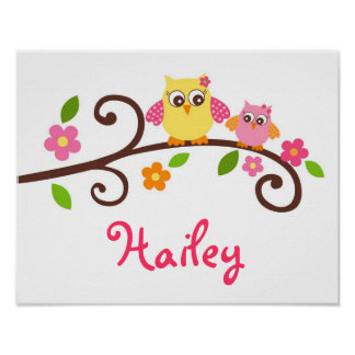 Sweet Mod Owl Girls Nursery Wall Art Print