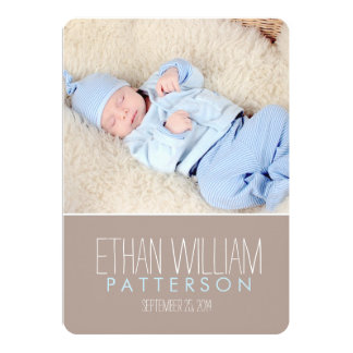 Sweet & Modern Baby Boy Birth Announcement