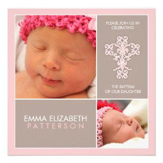 Sweet Modern Baptism Baby Girl Invitation