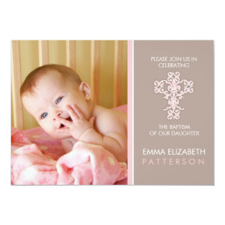 Sweet & Modern Baptism Baby Girl Invitation