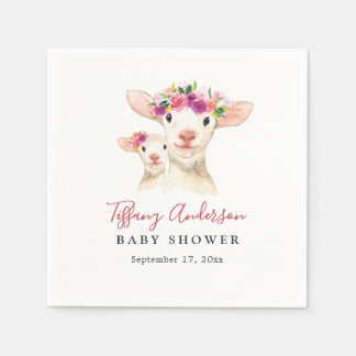 Sweet Mom And Baby Lamb Floral Baby Shower Napkin Paper Napkin