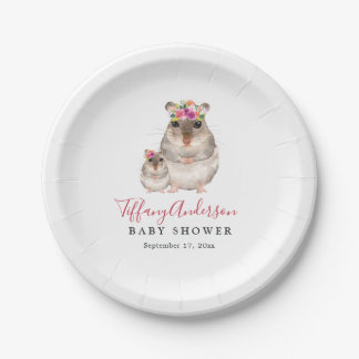 Sweet Mom And Baby Mouse Floral Baby Shower Plate