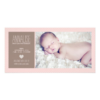 Sweet Moment Photo Baby Girl Birth Announcement Card