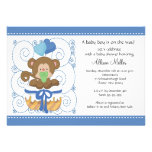 Sweet Monkey Baby Boy Baby Shower Personalized Invites