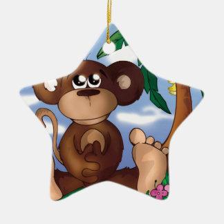 Sweet Monkey Ceramic Star Decoration