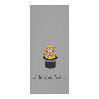 sweet monkey with bananas in hat 10 cm x 24 cm invitation card