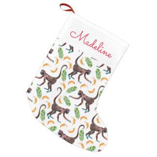 Sweet Monkeys Juggling Bananas   Add Your Name Small Christmas Stocking