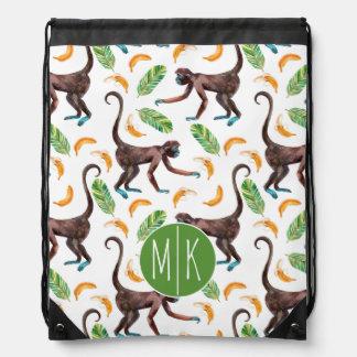 Sweet Monkeys Juggling Bananas | Monogram Drawstring Bag