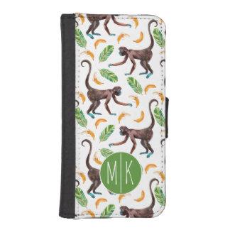 Sweet Monkeys Juggling Bananas | Monogram iPhone SE/5/5s Wallet Case