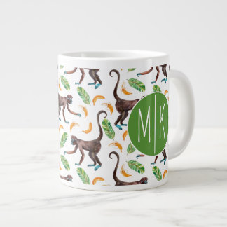 Sweet Monkeys Juggling Bananas | Monogram Large Coffee Mug
