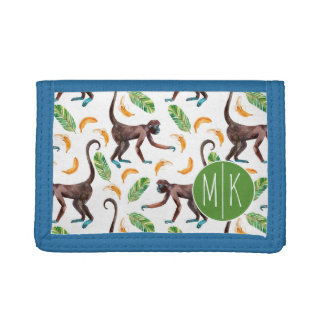 Sweet Monkeys Juggling Bananas | Monogram Tri-fold Wallet