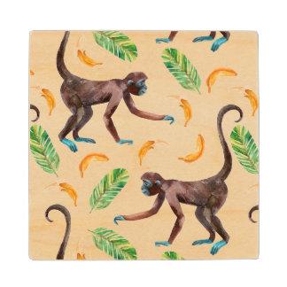 Sweet Monkeys Juggling Bananas Wood Coaster