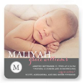 Sweet Monogram Birth Announcement Rose Dots Invitation