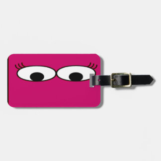 Sweet Monster Eyes On A Hot Pink Background Luggage Tag