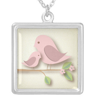 Sweet Mother Bird with Baby Mothers Day New Mom Silver Plated Necklace