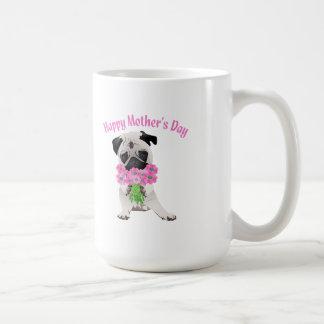 Sweet Mother's Day Pug with Flowers Basic White Mug