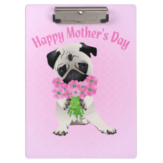 Sweet Mother's Day Pug with Flowers Clipboards