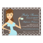 Sweet Mummy Baby Shower Tea Party Invitation Blue