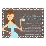 Sweet Mummy Baby Shower Tea Party Invitation Blue