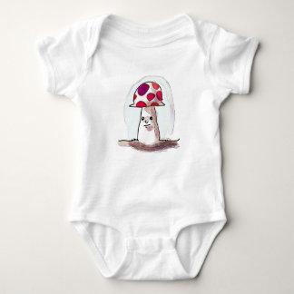 sweet mushroom cartoon style illustration baby bodysuit