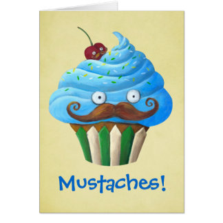 Sweet Mustached Cupcake Greeting Card