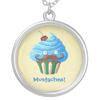 Sweet Mustached Cupcake Personalized Necklace