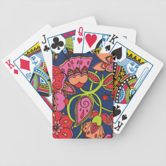 Sweet Neon Floral Bicycle Playing Cards