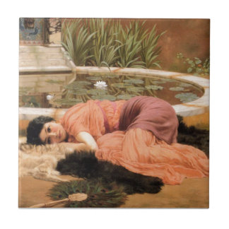 Sweet Nothings by John William Godward Small Square Tile