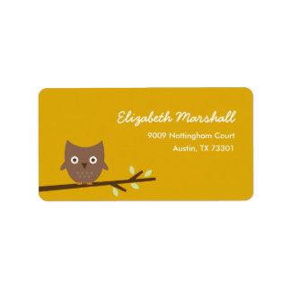 Sweet Owl Address Label (Mustard)