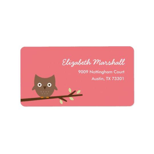 Sweet Owl Address Label (Pink)