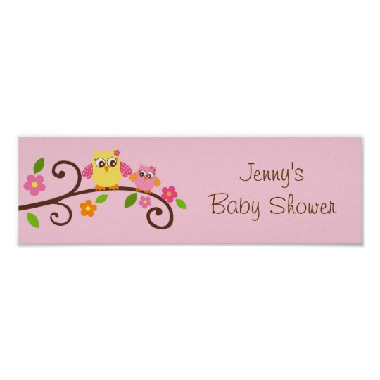 Sweet Owl Baby Girl Baby Shower Banner Sign
