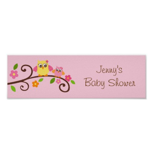 Sweet Owl Baby Girl Baby Shower Banner Sign Poster