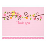 Sweet Owl Baby Girl Thank You Note Cards